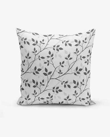 Obliečka na vankúš s prímesou bavlny Minimalist Cushion Covers Grey Background Leaf, 45×45 cm