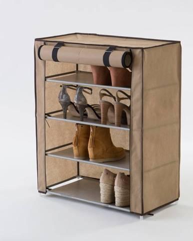 Béžová textilná štvorposchodová skrinka na topánky Compactor Shoes