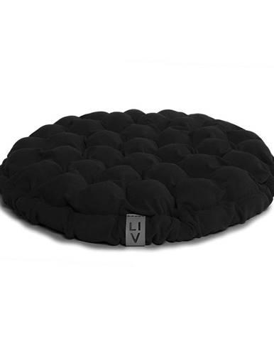 Čierny sedací vankúšik s masážnymi loptičkami Linda Vrňáková Bloom, Ø 65 cm