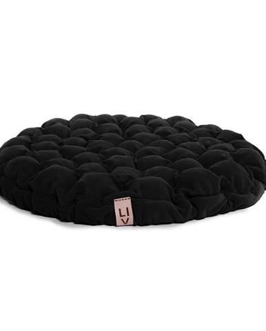 Čierny sedací vankúšik s masážnymi loptičkami Linda Vrňáková Bloom, Ø 75 cm