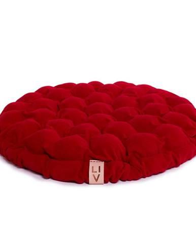 Tmavočervený sedací vankúšik s masážnymi loptičkami Linda Vrňáková Bloom, Ø 65 cm