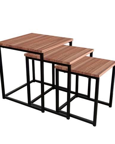 Set 3 konferenčných stolíkov orech/čierna KASTLER TYP 3