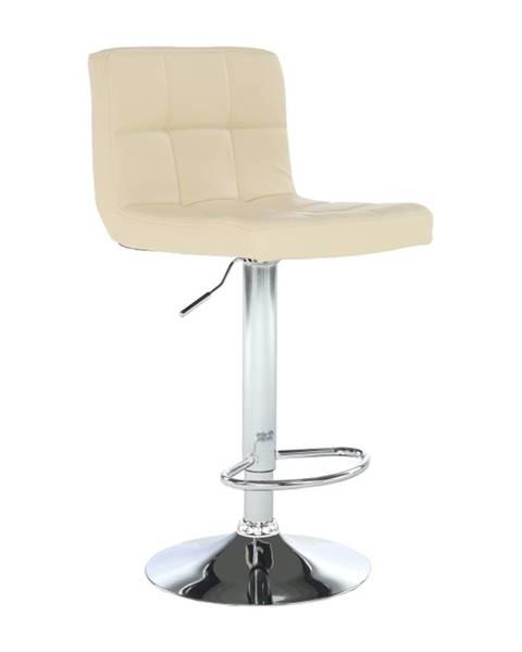 Kondela Barová stolička béžová ekokoža/chróm KANDY NEW