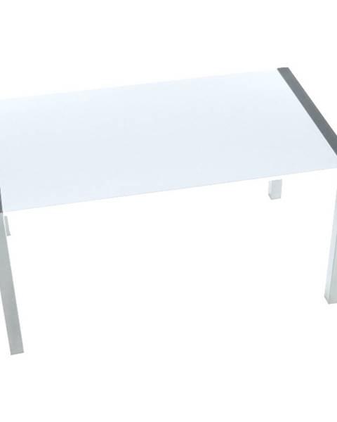 Kondela Jedálenský stôl rozkladací MDF/kov biela extra vysoký lesk HG/strieborná DARO poškodený tovar