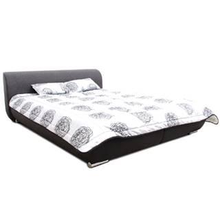Manželská posteľ čierna/tmavosivá/vzor 160x200 MEO