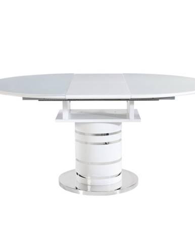 Jedálenský stôl rozkladací biela vysoký lesk HG ZAMON poškodený tovar
