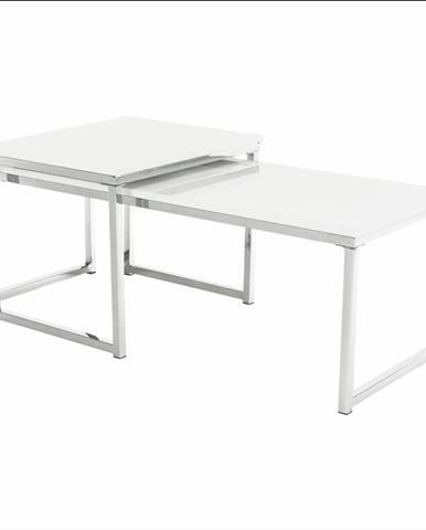 Set 2 konferenčných stolíkov biela extra vysoký lesk ENISOL TYP 2