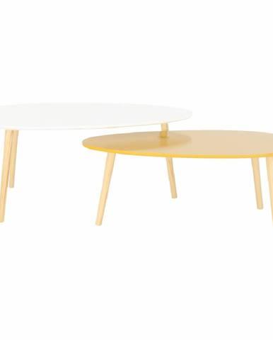 Set 2 konferenčných stolíkov biela HG/žltomedová HG DOBLO