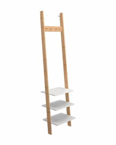 Vešiak s policami biela/bambus MARIKE TYP 1