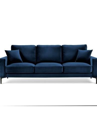 Námornícky modrá zamatová pohovka Kooko Home Harmony, 220 cm
