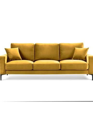 Žltá zamatová pohovka Kooko Home Harmony, 220 cm