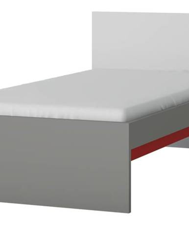 Posteľ LASER červená/sivá, 90x200 cm