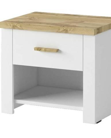 Nočný stolík MERANO 2 ks, biela/dekor dub wotan