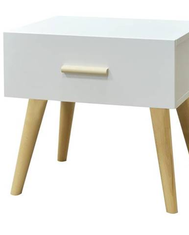 Nočný stolík CRAZY biela/buk