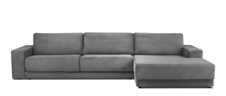 Sivá menčestrová rozkladacia rohová pohovka Milo Casa Donatella, pravý roh